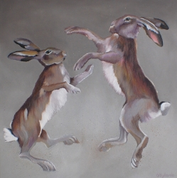 Boxing Hares Acrylic on Canvas