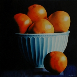 Oranges in Blue Bowl